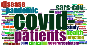 Rainbow-colored word cloud, COVID and patients are two largest words